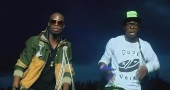 Foto do B.o.B e Lil Wayne no clipe Strange Clouds