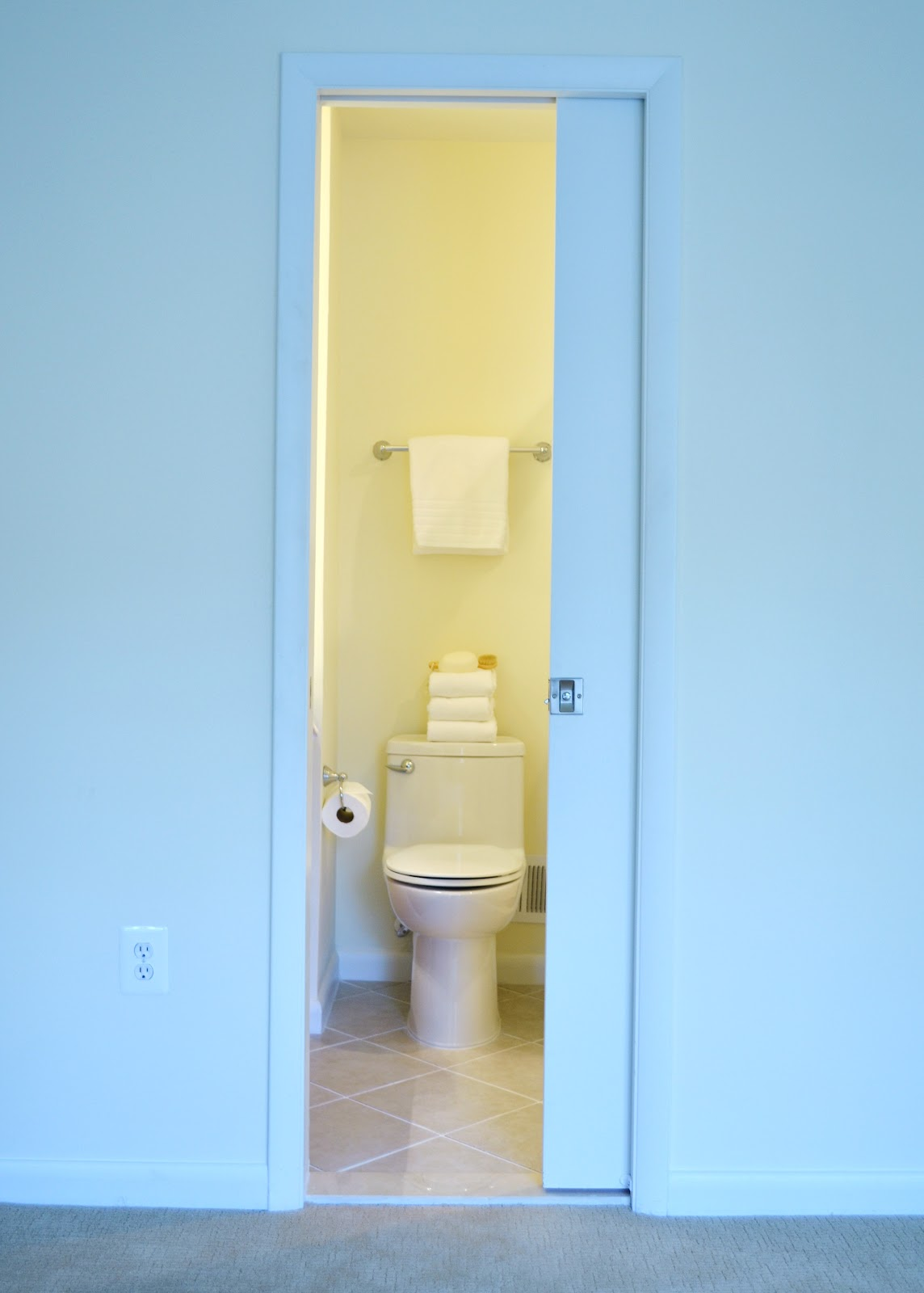 Acanthus and acorn bathroom renovations how to get the for Master bathroom pocket door