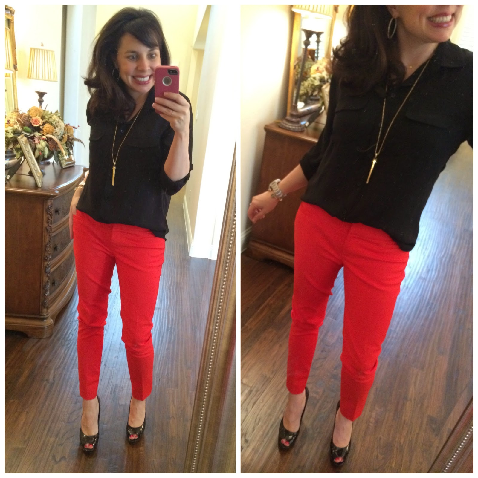 Innovative Red And Black Striped Pants Pants Women 3rdand56th  1 Stripe Skinny