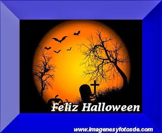 Feliz Halloween con Cementerio y Murcielagos