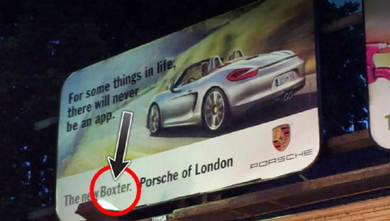 porsche car ad spells the car name wrong