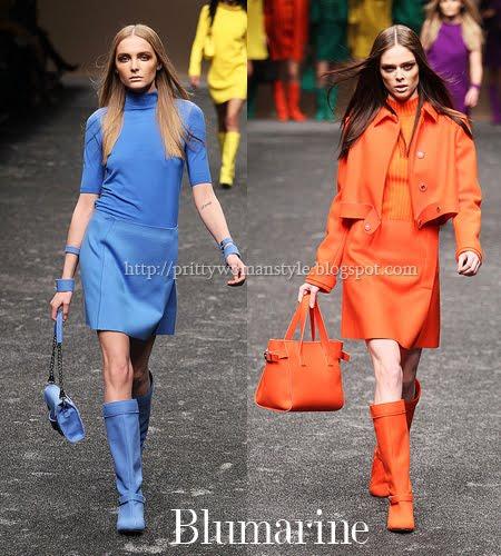 едноцветни костюми - пола, блуза, палто, ботуши и чанта в еднакъв цвят