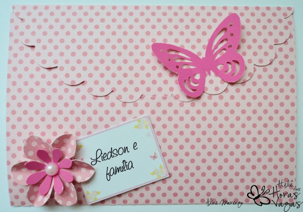 enfeite de mesa aniversario jardim encantado: das Horas Vagas – Aline Barbosa: Convite envelope jardim rosa e pink