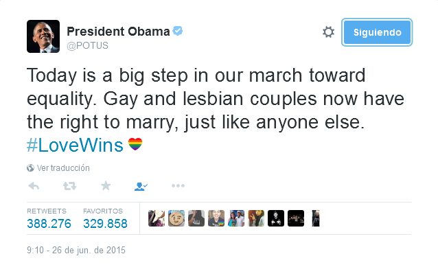 Barack Obama Dice #LoveWins En Twitter