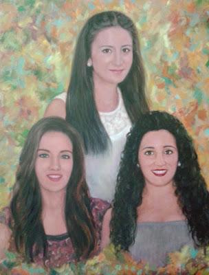 Retrato 3 mujeres realizado por la pintura Rudi.