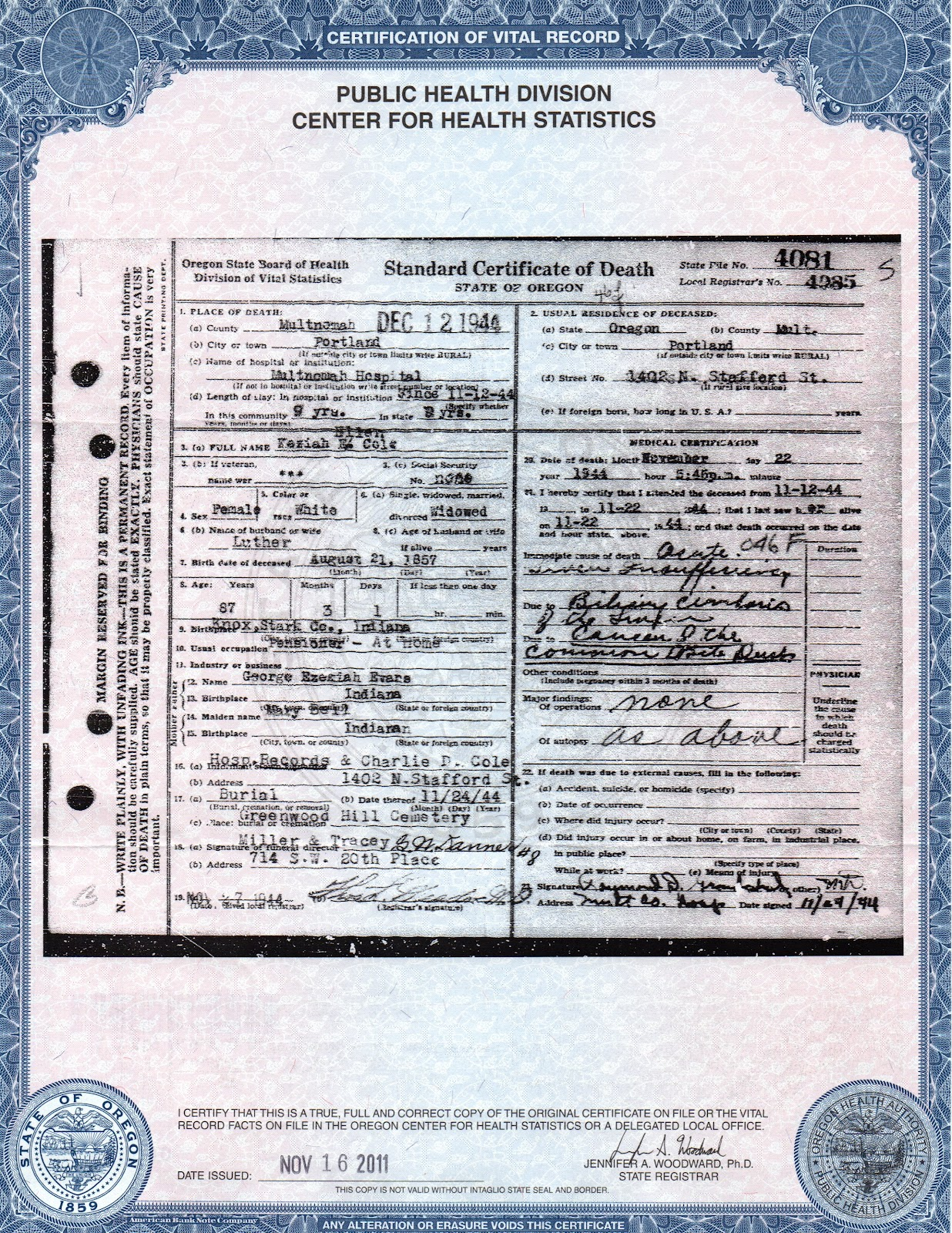 Lovely photos of indiana birth certificate business cards and family skeletons finding my ggg grandfather keziah cole s xflitez Gallery