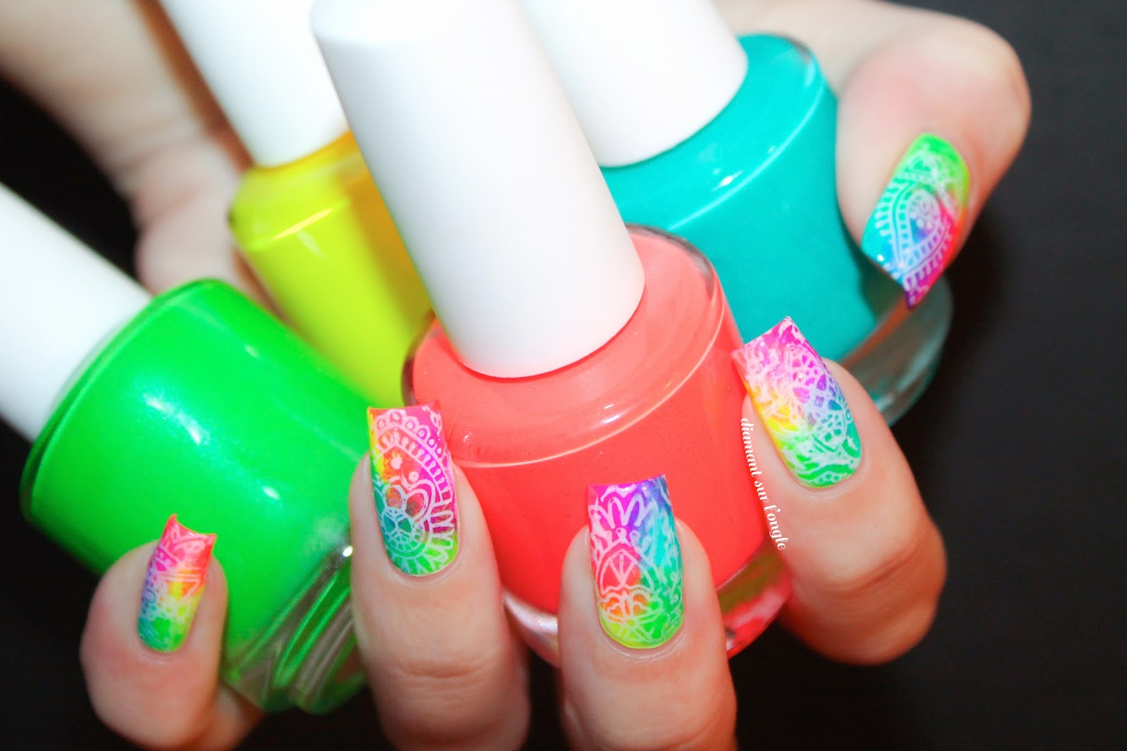 Neon Colorful Nail Art done for Holi