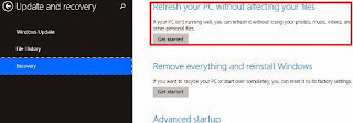 Windows 8 PC Refresh without affecting files
