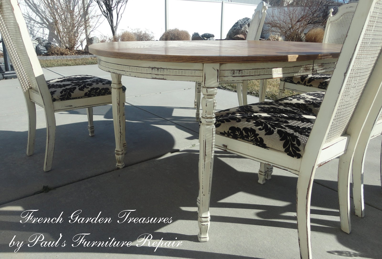 French Garden Treasures: Custom Refinish Dining Table and 5 Chairs