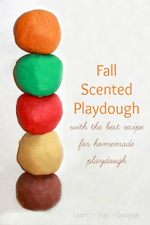 The perfect playdough recipe in yummy fall scents and colors.