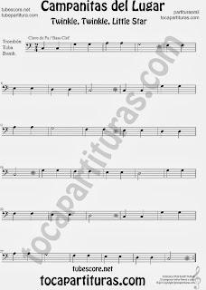 Partitura de Campanitas del Lugar para Trombón, Tuba Elicón y Bombardino Villancico Christmas Carol Song Twinkle twinkle little  Sheet Music for Trombone, Tube, Euphonium Music Scores