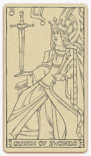 Queen of Swords card - inked illustration - In the spirit of the Marseille tarot - minor arcana - design and illustration by Cesare Asaro - Curio & Co. (Curio and Co. OG - www.curioandco.com)