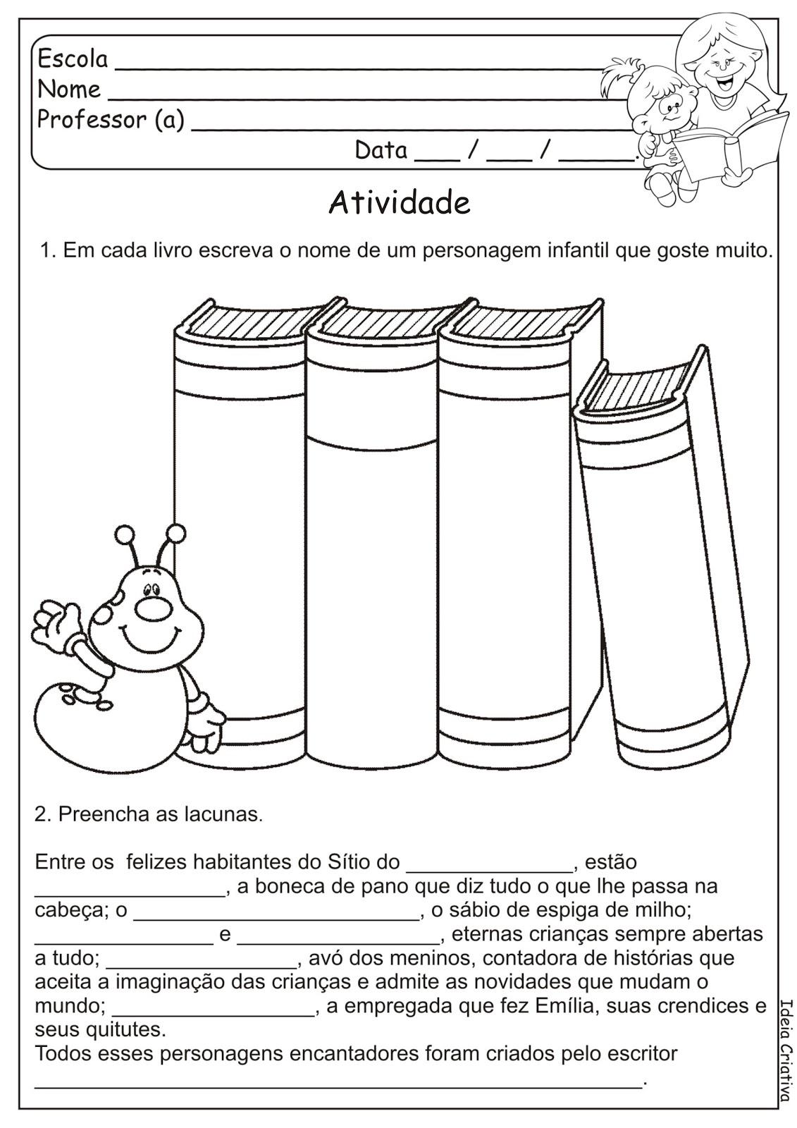 Atividade Dia Do Livro Infantil S  Tio Do Pica Pau Amarelo  16