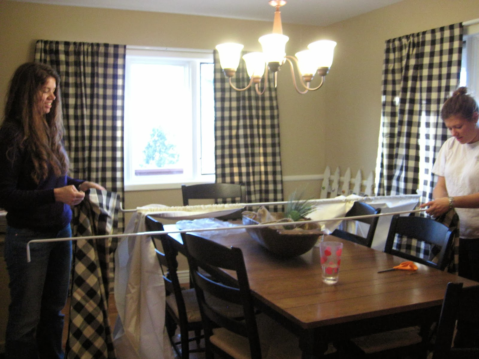 Black and white checked curtains - April Helped Kelli Hang More Curtains I Love Black And White Buffalo Checked Curtains Another Smart Girl