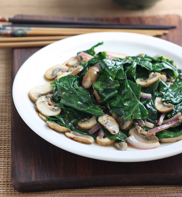 Collard Greens with Mushrooms Stir Fry recipe by SeasonWithSpice.com