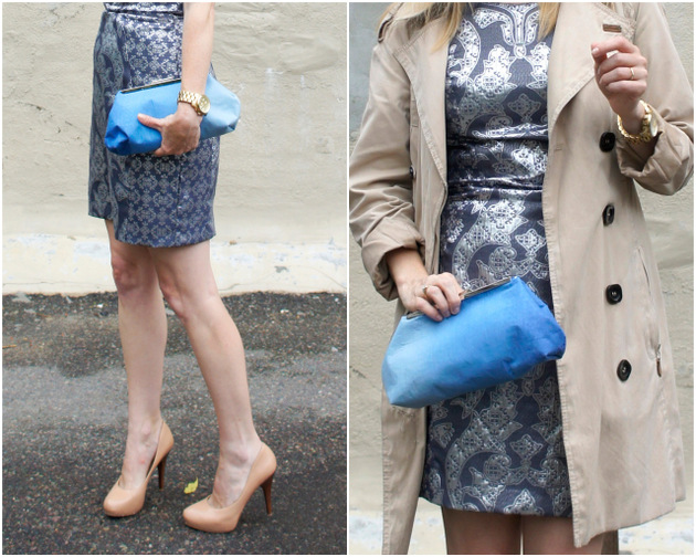 brocade dress, trench, ombre bag