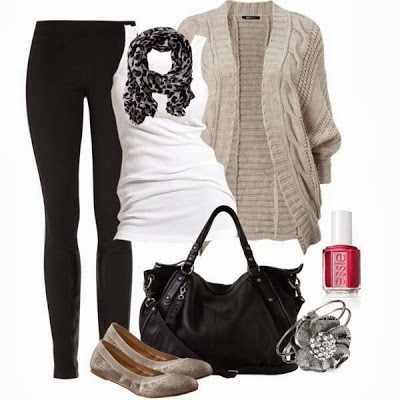 Black pants, scarf, white blouse, cardigan, handbag and sandals for fall