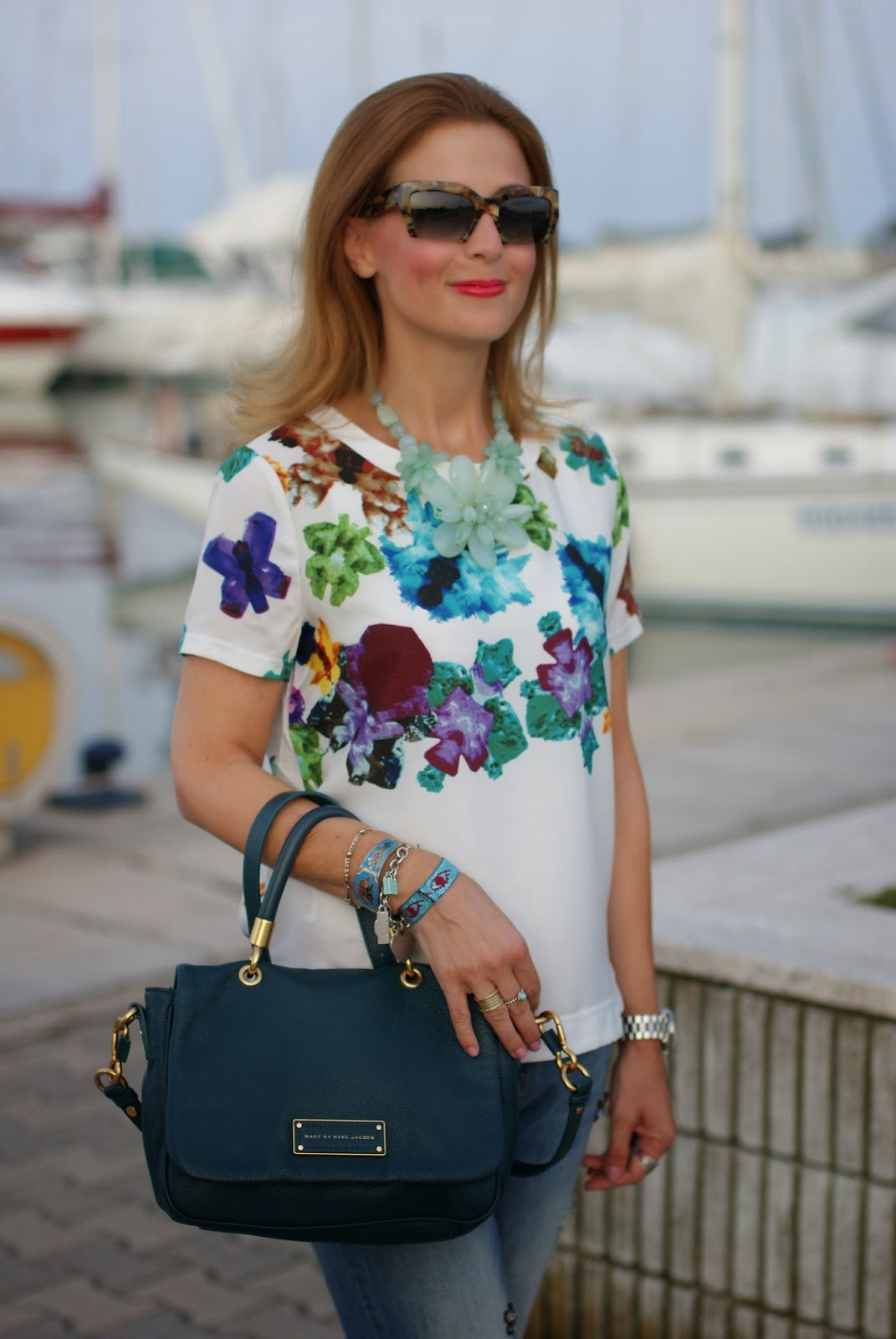 Blackfive white top, jeweled boyfriend jeans, miu miu rasoir sunnies, Fashion and Cookies, fashion blogger