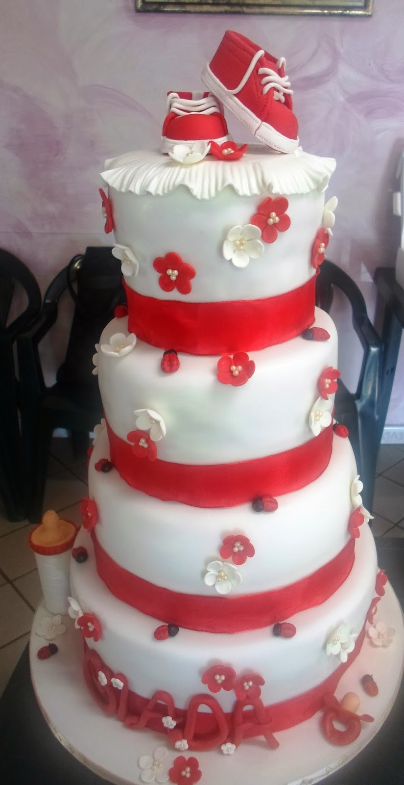 red and white christening cake