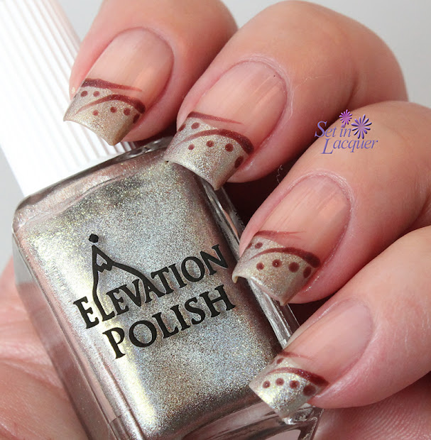 notd holographic french tip nail