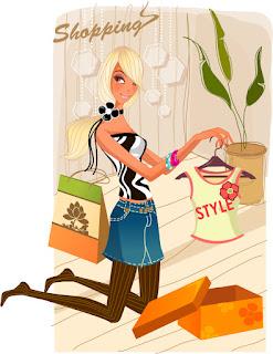 洋服の買い物を楽しむ少女 fashion shopping women イラスト素材