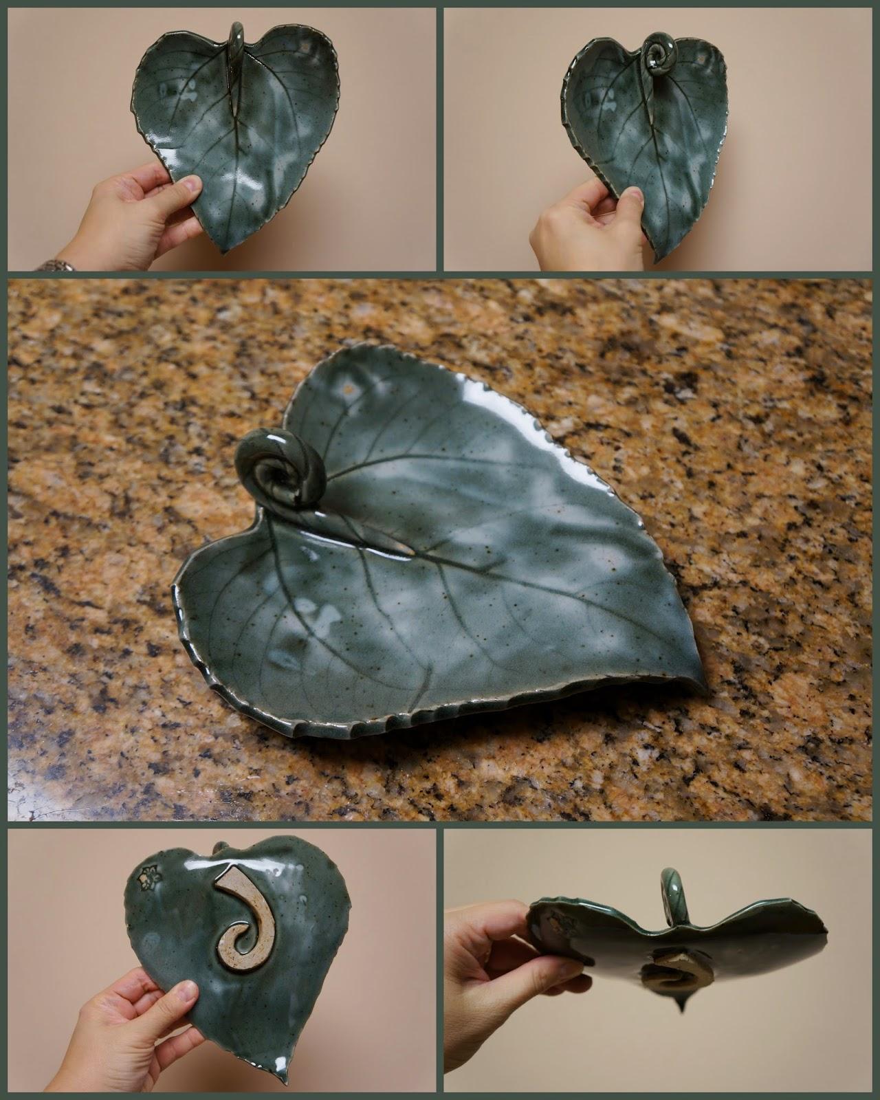 Unique handmade nature inspired ceramic pottery sunflower leaf dish
