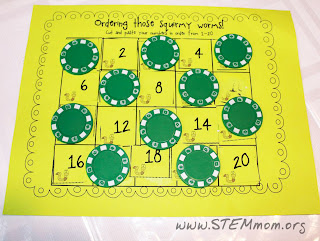 Cutting and Skip Counting Numbers using poker chips:STEMmom.org
