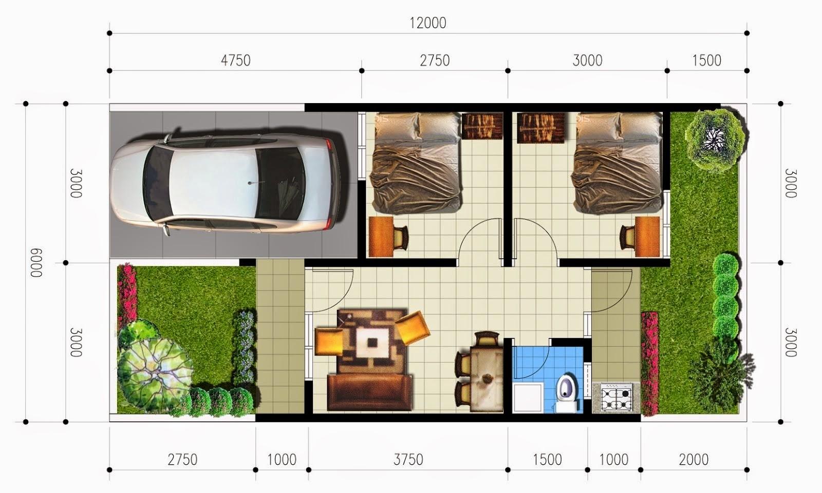 Contoh Denah Rumah Tipe 36 Sederhana Terbaru