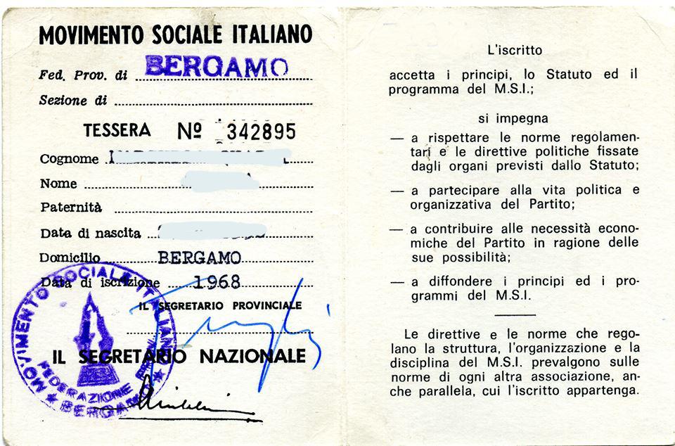 TESSERA M.S.I. 1968