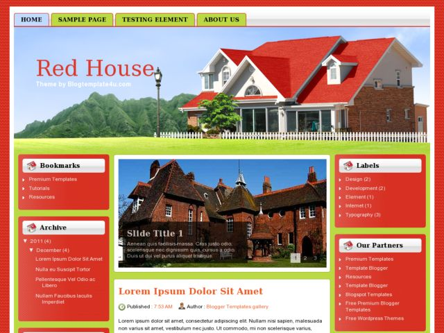 Red House Blogger Template