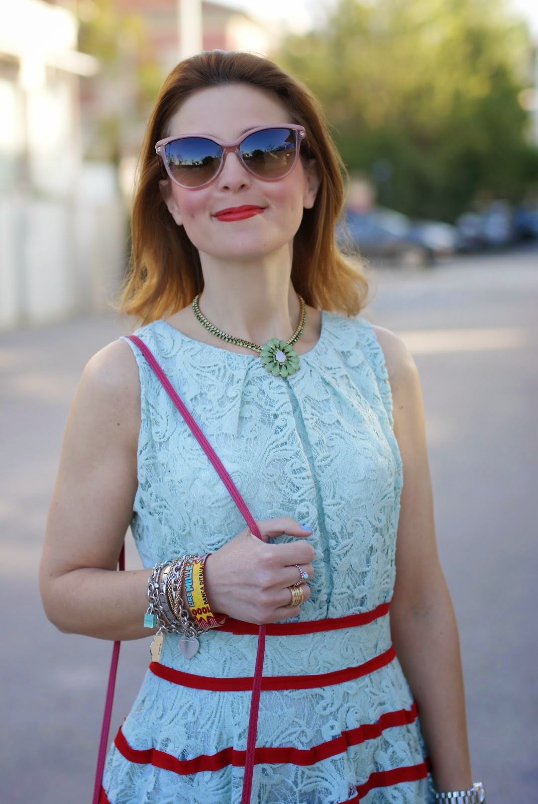 mint chicwish lace dress, Stella McCartney cat eye sunglasses, Sodini necklace, Fashion and cookies, fashion blogger