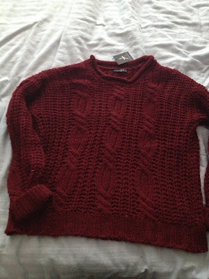 Primark Knit Roll Neck in Burgundy - £14.00