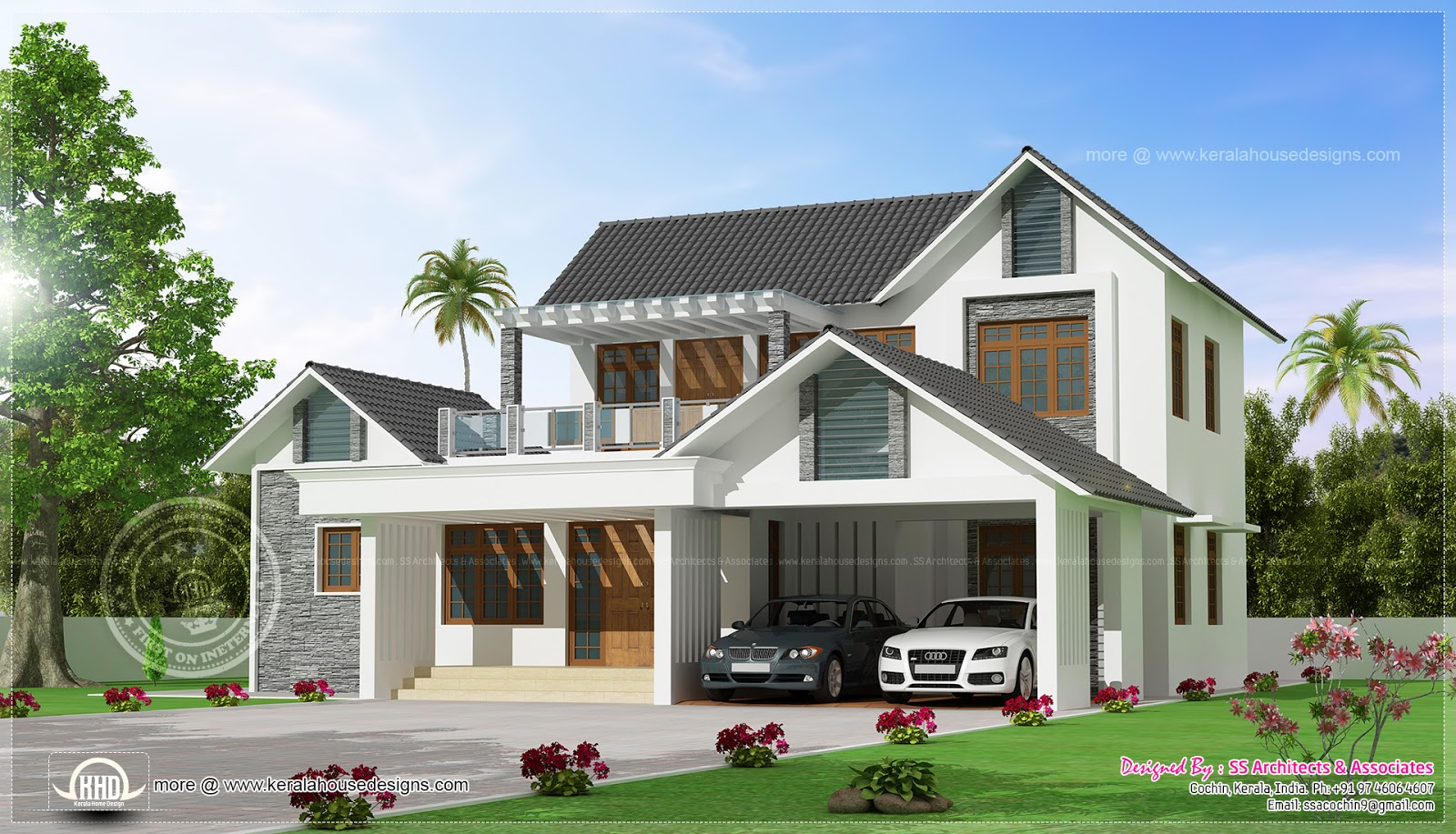 Awesome modern villa exterior elevation home kerala plans for Modern villa plans and elevations