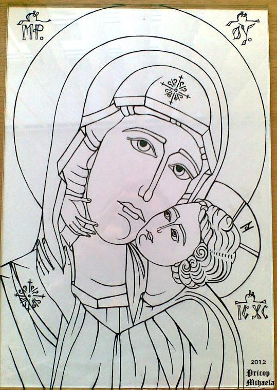 Icoana bizantina cu Maica Domnului si Pruncul Iisus- etapa 1