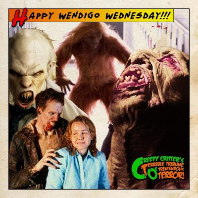 collage of wendigo horror scenes