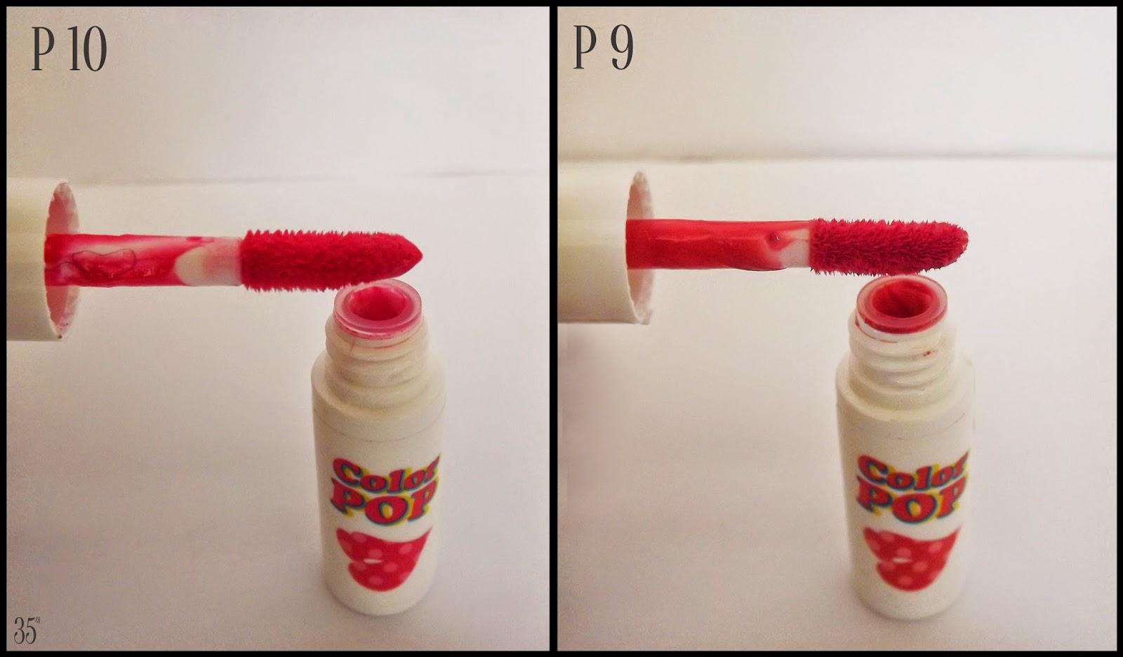 Etude House Mini Color Pop Tint comparison P10, P9