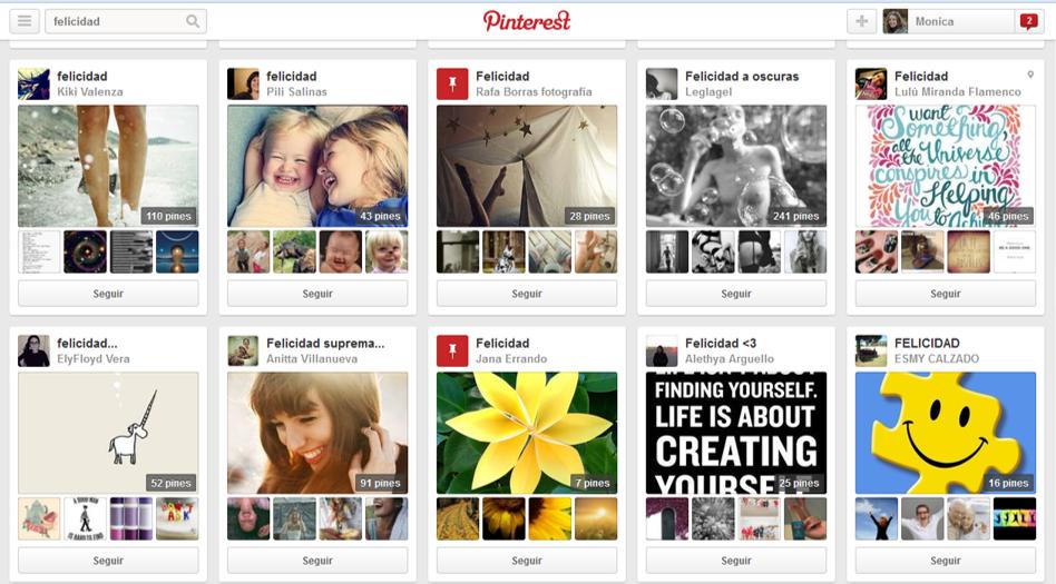 Pinterest tablero felicidad