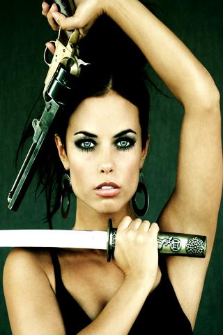 Green Eyed Girl Holding Gun and Katana Sword iPhone Wallpaper