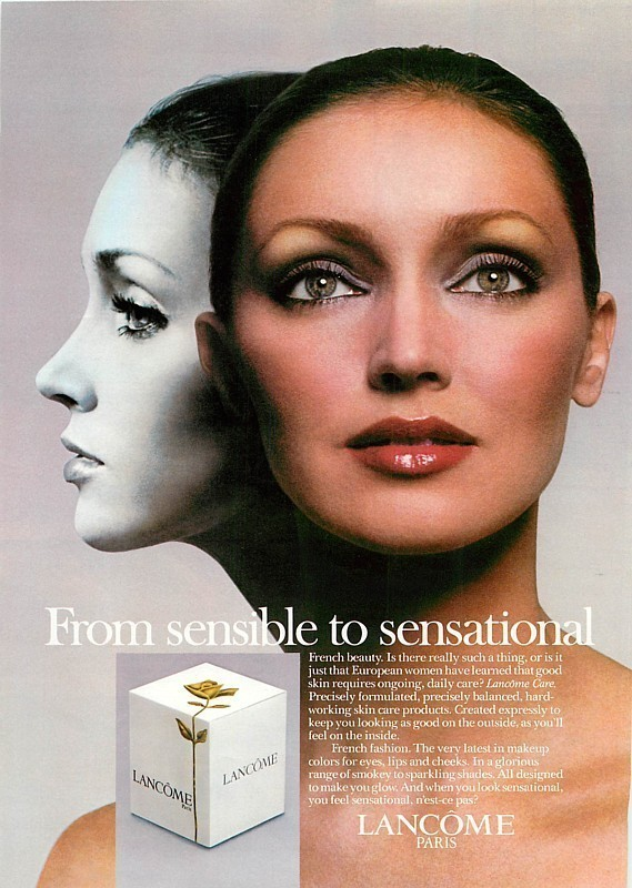 "Both ads feature double images of her, and black and white and in color, with the ""From sensible to sensational"" tagline used by Lancôme at the time. - Nancy%2BDutiel%2BLancome%2B1978"