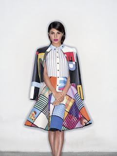 Jacqueline Fernandez in Colurful Trendy Fashion for Elle magazine Jan 2016