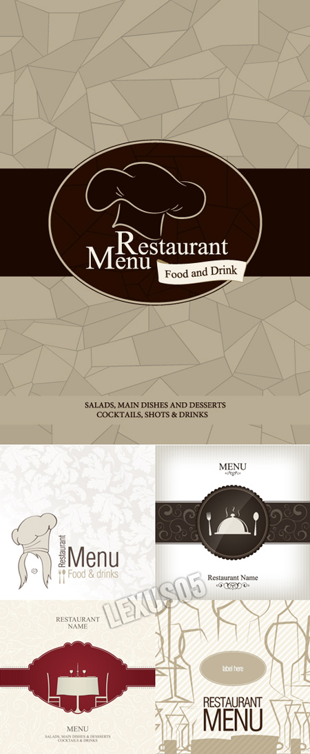 Quality graphic resources cover designs for restaurant menus