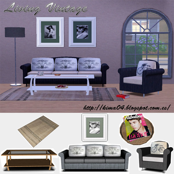 my sims 3 vintage living room set by kima