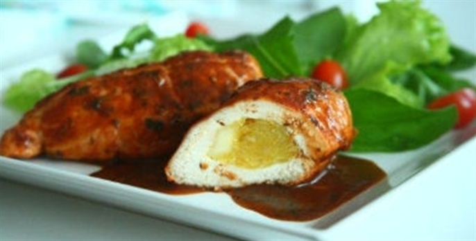 Receita Peito de frango recheado com mandioquinha e queijo coalho