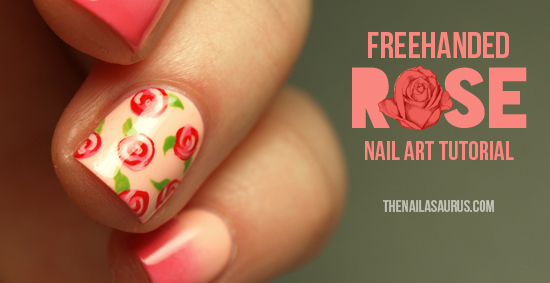 Freehanded rose nail art tutorial the nailasaurus uk nail art blog prinsesfo Gallery