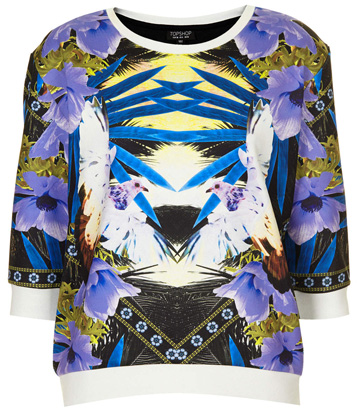 topshop tropical print top