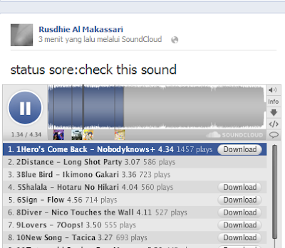 Update Status Lagu Di Facebook Via Soundcloud