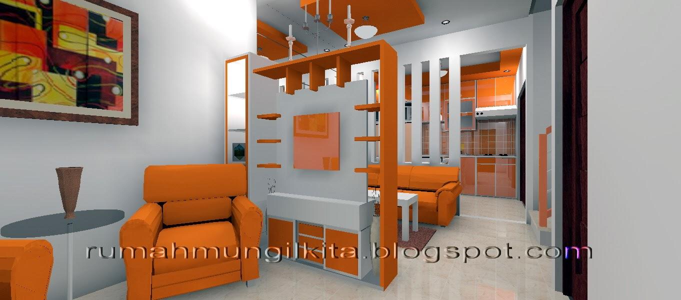 partisi dua sisi minimalis dengan rak tv warna oranye putih
