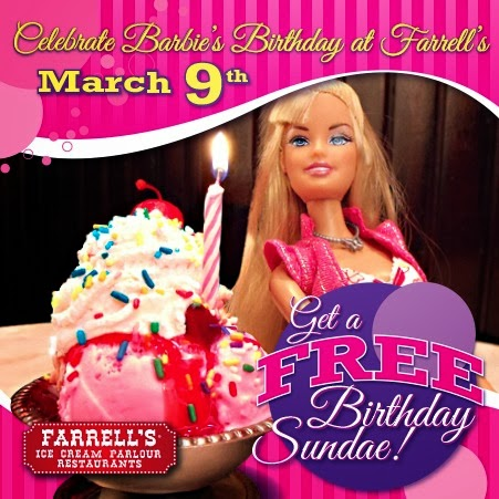 Free Barbie birthday sundae at Farrell's Ice Cream Parlour | LivingMiVIdaLoca.com