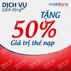 Mobifone khuyến mãi 50% giá trị thẻ nạp ngày 15/04/2015