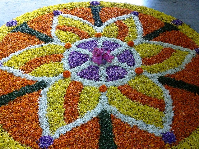 pookalam or floral design for Onam Festival